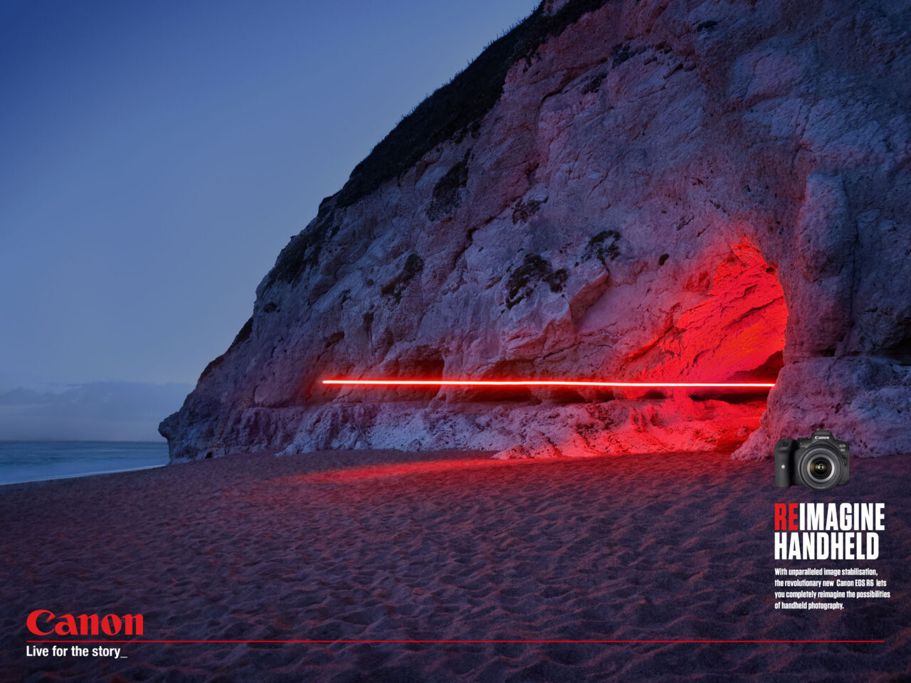 Long exposure shot of a red LED carried by a drone flying out of a cave