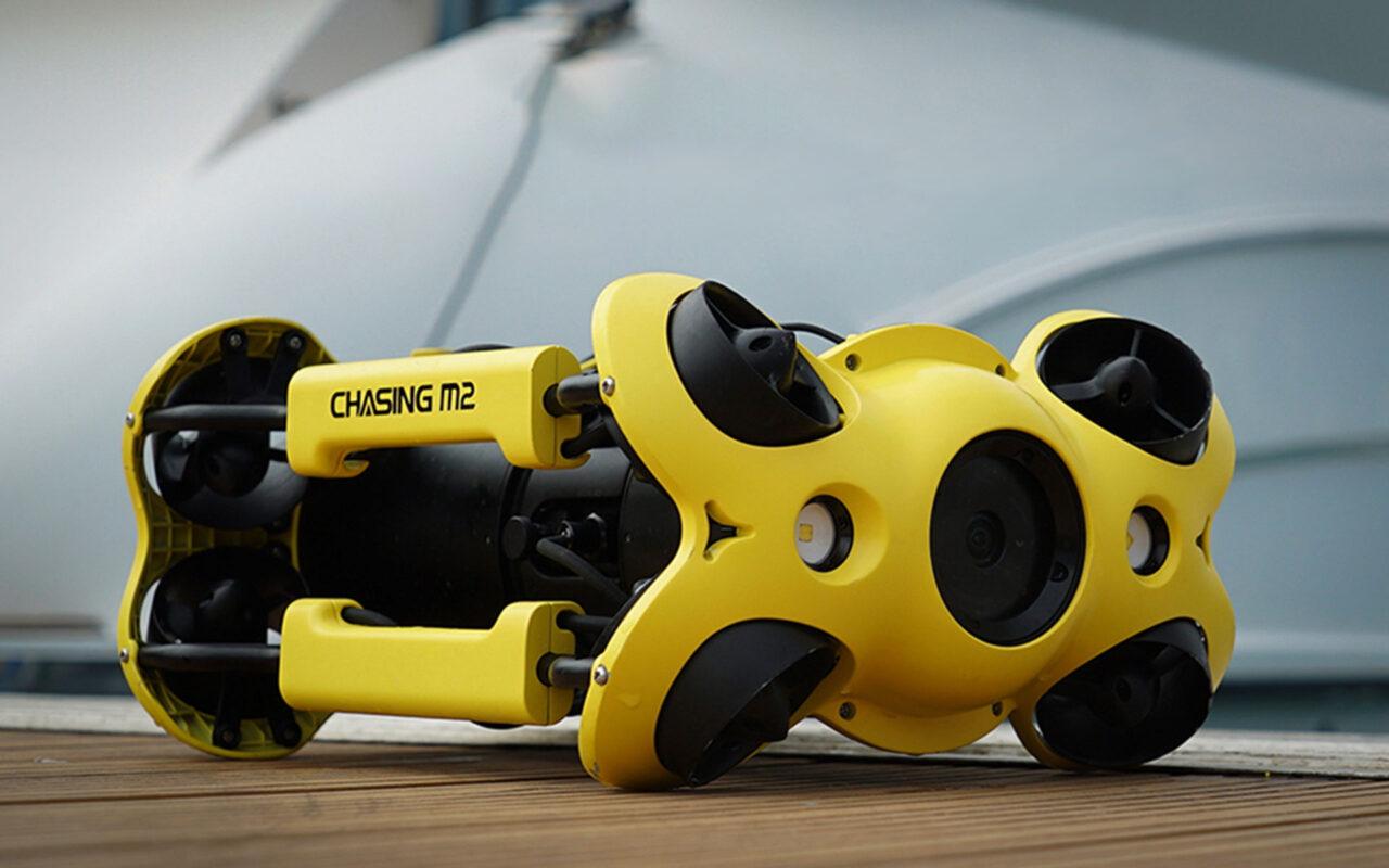 ROV underwater drone on quay side